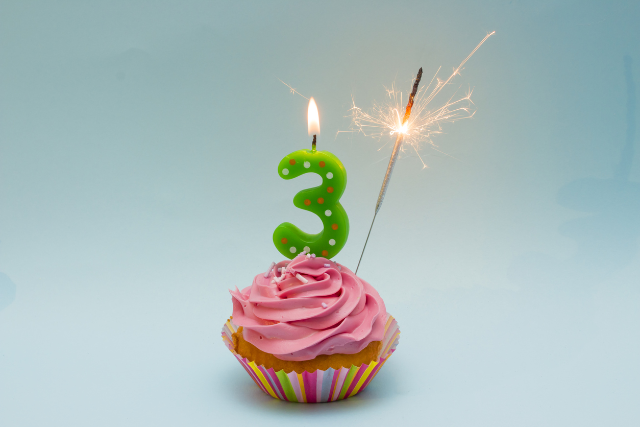 Third Birthday Cake With Number 3 Candle And Sparkler Edacious